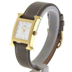 Hermes Hh1.201 H Quartz Gold Plated Leather White Dial Ladies Watch [u0907]