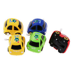 5pcs Plastic Antique Wind-up Car Toys Birthday Gift Red Green Blue Yellow