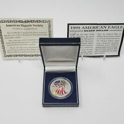 1999 Colorized American Eagle Silver Dollar, Walking Liberty, With Box And Coa