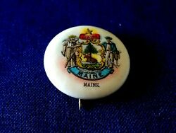 Maine State Seal Pin Back Button, Circa 1896 A220