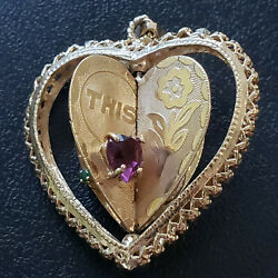 Antique 14k 11gr Spinning Gold Heart This Is Our Life Diamonds, Rubies