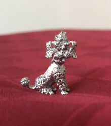 18k White Gold Adorable .04ct Natural Round Pinkish Red Ruby Poodle Dog Pin 8g