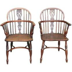 Pair Of Antique Signed English Yewwood And Elm Bow Back Windsor Armchairs