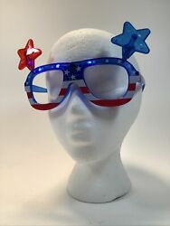 4th Of July American Flag Light Up Patriotic Star Glasses Holiday Celebration