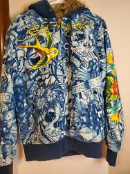 Ed Hardy Christian Audigier Hoodie Faux Fur Lined Rare Swallow Tiger Sz Large