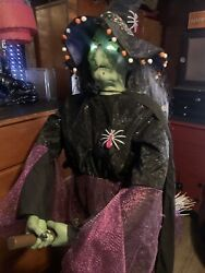 Life Size 6ft Gemmy Animatronic Animated Witch On Broom Halloween Prop See Video