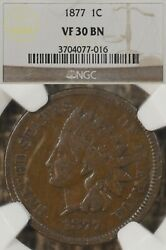 1877 1c Ngc Vf30 Indian Head Cent Penny Key Date