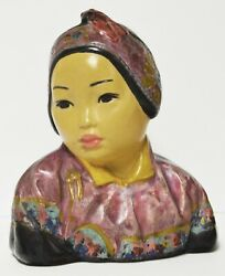 Authentic Antique Esther Hunt Jonquil 1917 Polychrome Chalkware Bust