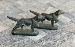 Pair Of Vintage Cast Iron Metal Pointer Hunting Dog Bookends