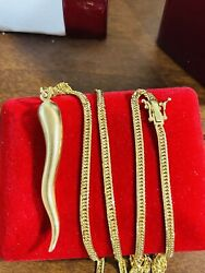 """K18 Japan Real Gold Solid Kihei 24"""" Long Mens Women's Chili Necklace 3mm 18.45g"""