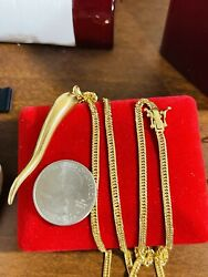 """K18 Japan Real Gold Solid Kihei 22"""" Long Mens Women's Chili Necklace 3mm 17.54g"""