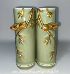 6.6 Marked Chinese Green Glaze Gilt Porcelain Dynasty Cicada Paper Weight Pair