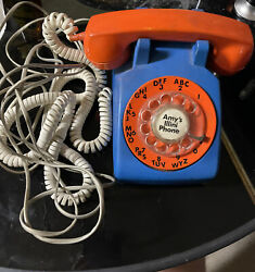 Vintage Fighting Illini Stromberg Carlson Ornage And Blue Rotary Phone See Desc