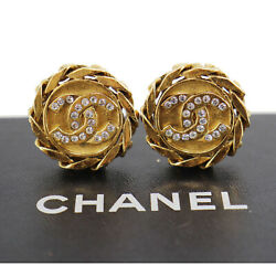 Cc Logos Rhinestone Used Earrings 23 Gold Clip-on Vintage Auth Ad191 S