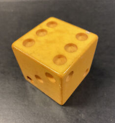 Large Giant Vintage 2 Inch Bakelite Catalin Cube Dice Butterscotch Yellow