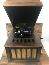 Antique Edison Amberola 50 Wind Up Cylinder Phonograph Working See Video