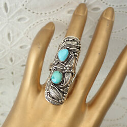Fine Southwestern Turquoise Sterling Beaded Floral Elongated Size 8 1/4 Ring 14g