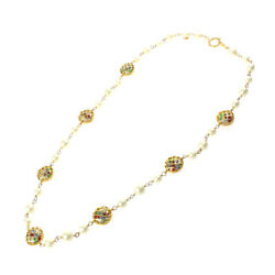 Auth Long Necklace Pearl Matrasse Gold Chain L86cm F/s