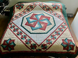 Amish Handmade Quilt Spin Star New Amish King Quilt New Amish Queen Quilt