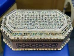 Vintage Handmade Wood Jewelry Box Inlaid Mother Of Pearl