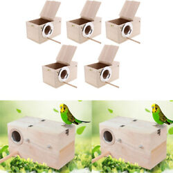 5pcs Bird Nests Box For Cages Parakeet Breeding Box Wood Budgie House For