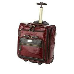 Samantha Brown Embossed Rolling Carry-it-all Bag Burgundy Nwt Sold Out