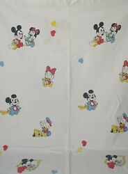 Vintage Dundee Disney Flannel Satin Trim Recieving Baby Blanket Mickey Mouse