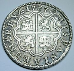 1737 Xf-au Spanish Silver 2 Reales Antique 1700and039s Colonial Two Bits Pirate Coin