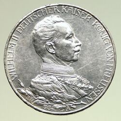 1913 A Germany German States Prussia Wilhelm Ii Antique Silver 3mark Coin I94974