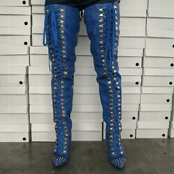 Women's Over-the-knee Thigh High Boots Fish Scale Pattern High Heels Boots Shoes