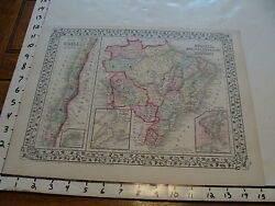 Vintage Map 1874 Mitchell Map Of Brazil Bolivia Paraguay Uruguay Chile
