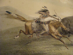 1840and039s Buffalo Hunt Chase 5 By George Catlin -- Native American Original Print