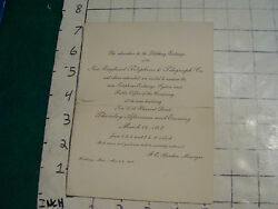 Vintage 1907 Invation To See New England Telephone And Telegraph Co Exchange