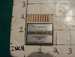 Vintage Matches 1930's Or 40's Pull Quick National Brokerage Co. Minus 1