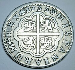 1735 Spanish Silver 2 Reales Genuine Antique 1700and039s Colonial Cross Pirate Coin