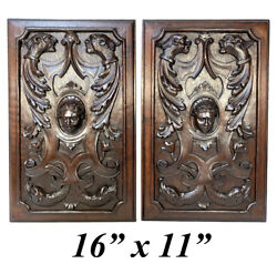 Antique Victorian Carved 16x11 Furniture Or Cabinet Door Panel Pair, Mascarons