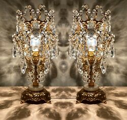 Pair Of 2 Antique Table Lampscrystal Vintage Table Lamps French Lamp Lighting
