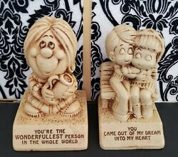 Two Paula Figurines Wonderfullest Person And Out Of My Dream Couple 1970s Wooden