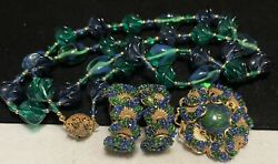 Miriam Haskell Set Rare Vintage Signed Blue Green Glass Necklace Brooch Earring