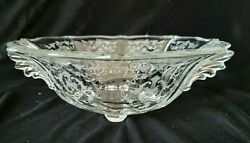 Fostoria Bowl Baroque Navarre Etch Clear Glass Handled 4-toed Pointed Flame 12