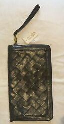 Urban Expressions Grey Gray Style 3018 Fold Over Clutch Wristlet Woven Leather $9.25