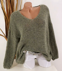Italy Pullover Grobstrick Pulli Oversize M. Alpaka Wolle 38 40 42 44 Hell Oliv