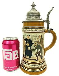 Hauber And Reuther Antique German Beer Stein 175 Bowling Scene .5l Signed M Gift
