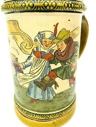 Hauber And Reuther Antique German Beer Stein 402 Musician Dancers Inlay Lid Gift