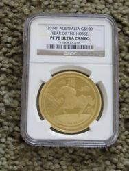 2014p G100 Australia Gold Lunar Year Of The Horse Ngc Pf70 1oz Top Pop 1 Of 12