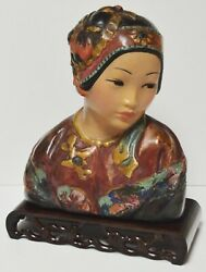 Large Antique Esther Hunt Butterfly 1919 Polychrome Chalkware Bust W/ Stand
