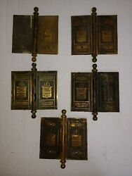 C1890 Victorian Mansion Size Brass Door Hinges 5 W/plates Sailing Ship 6x 7