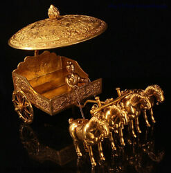 12 Chinese Bronze 24k Gold Gilt Dynasty Four Horse Pull Carriage Warrior Statue