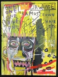 Used 1982 Jean Michel Basquiat Large Oil Painting Trademark Crown 80cm 60cm