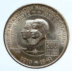1975 Peru - Vintage Avaition Heroes Pilots Silver 200 Soles Peruvian Coin I95796